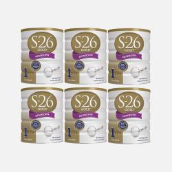 澳洲直邮【包邮包税】六罐 Wyeth惠氏S-26 金装新生婴儿牛奶粉1段 (0-6个月) 900g