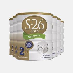 澳洲直邮【包邮包税】六罐 Wyeth惠氏S-26 金装婴幼儿配方牛奶粉2段 (6-12个月) 900g