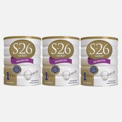 澳洲直邮【包邮包税】Wyeth惠氏S-26 金装新生婴儿牛奶粉1段 (0-6个月) 900g*3罐 新老包装随机发货