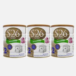 澳洲直邮【包邮包税】Wyeth惠氏S-26 金装婴幼儿配方牛奶粉2段 (6-12个月) 900g*3罐 新老包装随机发货