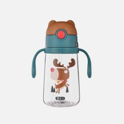 韩国BEDDYBEAR杯具熊 儿童学饮杯带手柄吸管杯宝宝水壶防漏防摔 380ML 国内发货