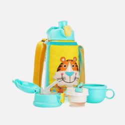 韩国BEDDYBEAR杯具熊 新款三盖儿童保温杯316不锈钢宝宝饮水杯小学生便携吸管杯 630ML 国内发货