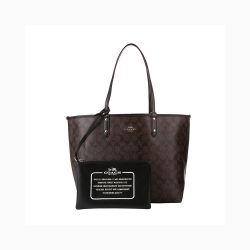 Coach 蔻驰 TOTE系列深棕色PVC配皮女士包袋 F36658IMAA8(香港直邮)