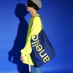anello日本潮流大logo棉质帆布两用手提包单肩包 蓝布黄字(完税仓包邮发货)