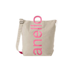 anello日本潮流大logo棉质帆布两用手提包单肩包 卡其布粉字(完税仓包邮发货)