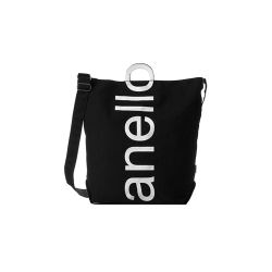 anello日本潮流大logo棉质帆布两用手提包单肩包 黑布白字(完税仓包邮发货)