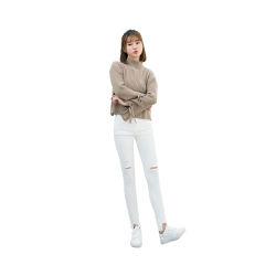【女神必备】韩国Let's diet 时尚白色破洞裤魔术裤
