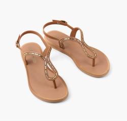 GRENDHA 通勤平底休闲街头夹趾 女凉鞋  棕色 尺寸可选