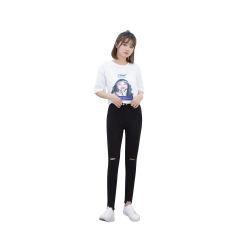 【女神必备】韩国Let's diet 时尚黑色破洞裤魔术裤