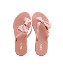 Zaxy 平底人字夹趾防水果冻拖鞋 粉色 尺寸可选