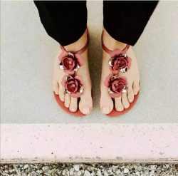 Ipanema 时尚花朵 平底时尚凉鞋 红色 尺寸可选