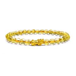 四福珠宝 黄水晶足金招财貔貅手链天然水晶彩宝黄金手饰