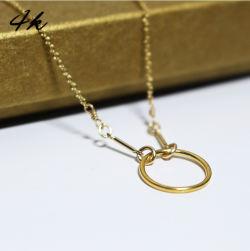 四福珠宝 圆环纯银S925项链 欧美手工原创时尚百搭项链18k金色 锁骨链
