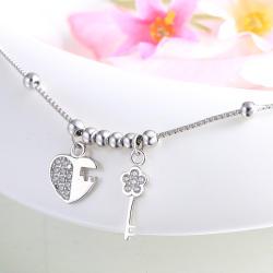 四福珠宝 S925纯银脚链温婉爱心钥匙足链