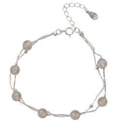 四福珠宝 s925纯银多层天然月光石手链女韩版双层简约学生个性闺蜜清新