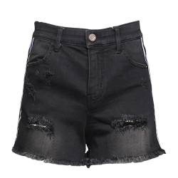 SP-68 破洞彩色织带牛仔短裤灰色