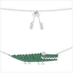 APM MONACO 纯银镶薄荷绿晶钻小鳄鱼造型项链 AC3895XKG