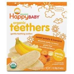 【4件装】Happybaby 禧贝 香蕉甜薯 磨牙薄脆饼 48g