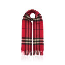BURBERRY/巴宝莉 女士经典格纹红色羊绒围巾 3826552