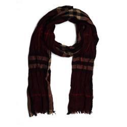 BURBERRY/巴宝莉 酒红色羊毛混纺经典格子围巾 3886590